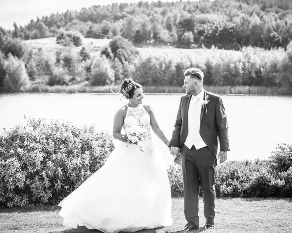 Walking by the lake, Waterton Park Hotel weddings, Yorkshire wedding photographers